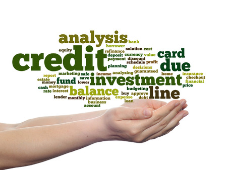 Concept or conceptual credit card line investment balance word cloud in hands isolated on background Stock Photo
