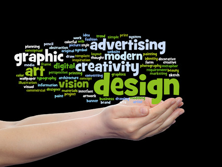 Concept conceptual creativity art graphic design visual word cloud in hand isolated Stockfoto