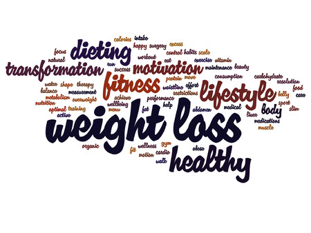 Vector weight loss healthy dieting transformation word cloud isolated on background Illustration