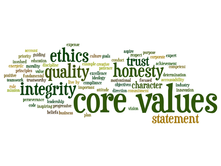 honesty: Vector conceptual core values integrity ethics concept word cloud isolated on background