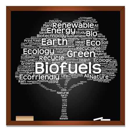 tree isolated: Vector conceptual white tree on blackboard made of ecology, recycle or energy text as wordcloud isolated on black background