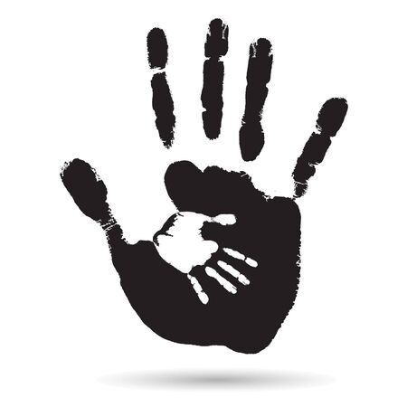 baby and mother: Vector concept or conceptual cute black paint hand of mother child handprint isolated on white background