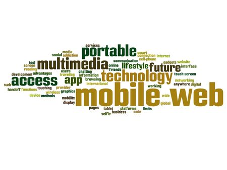 smartphone apps: Vector concept or conceptual mobile web portable multimedia technology word cloud isolated on background