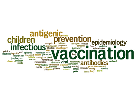 tetanus: A Vector concept or conceptual children vaccination or viral prevention word cloud isolated on background.