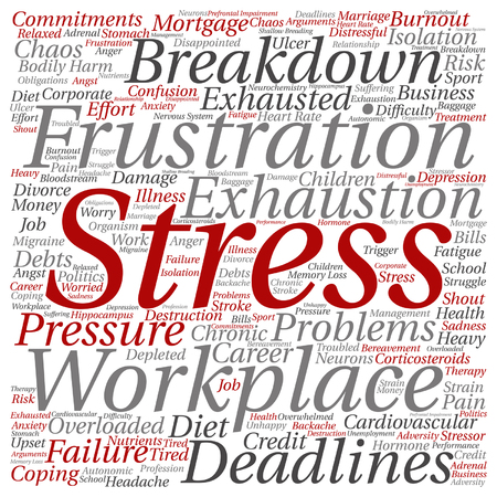 transactional: A Vector conceptual mental stress at workplace or job word cloud isolated on background