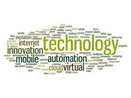 wireless connection: A Vector concept or conceptual digital smart technology, media word cloud isolated on background