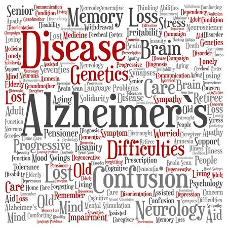 delusional: A Vector conceptual Alzheimer`s disease symtoms abstract word cloud isolated
