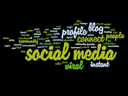 website words: Vector concept or conceptual social media marketing abstract word cloud isolated
