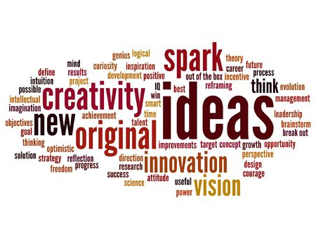 Vector concept or conceptual creative new ideas brainstorming word cloud isolated on background
