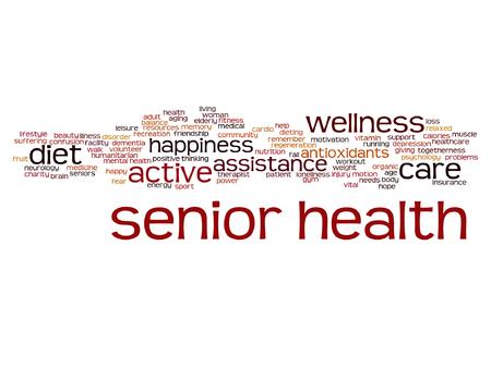 벡터 개념적 오래 된 수석 건강, 배려 또는 노인 추상 단어 구름 절연