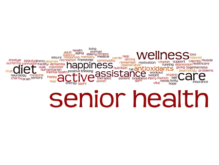 Vector conceptual old senior health, care or elderly people abstract word cloud isolated
