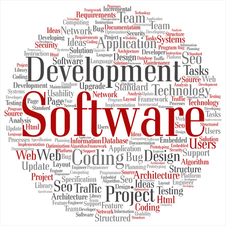 website words: Vector concept or conceptual software development project coding technology word cloud isolated on background Illustration