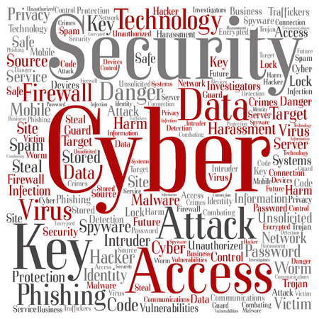 malicious software: Vector conceptual cyber security access technology word cloud isolated on background