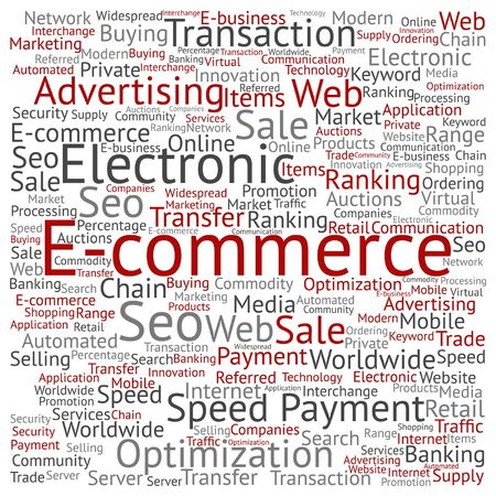 website words: Vector concept or conceptual E-commerce electronic sales word cloud isolated on background