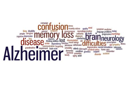 Conceptuele Alzheimer's ziekte symptomen abstracte woord wolk geïsoleerd