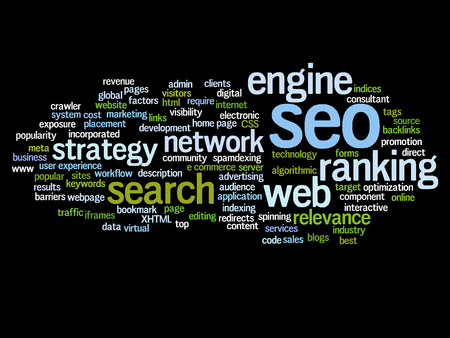 website words: Concept or conceptual search engine optimization, seo abstract word cloud isolated