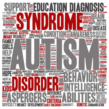 repetitive: Conceptual childhood autism syndrome or disorder abstract word cloud isolated