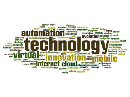 wireless connection: Concept or conceptual digital smart technology, media word cloud isolated on background