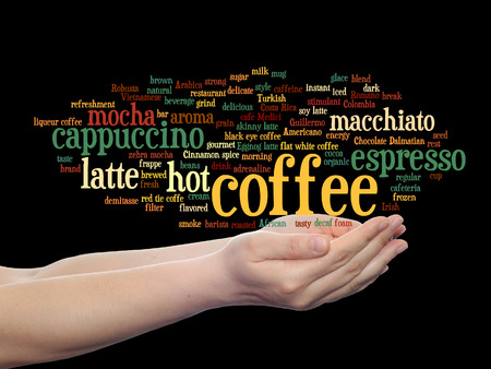 tagcloud: Concept conceptual creative hot coffee, cappuccino or espresso abstract word cloud in hand isolated