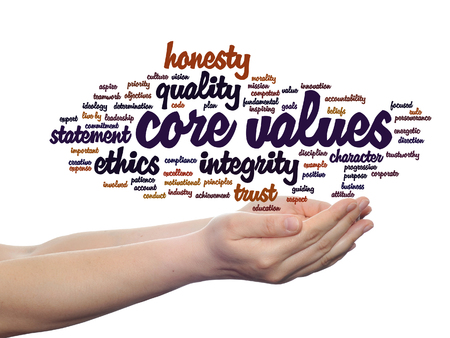 principles: Conceptual core values integrity ethics concept word cloud in hands isolated on background