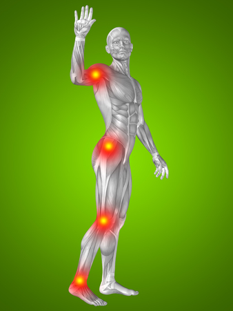 human anatomy: Conceptual 3D human man anatomy joint pain body on green background