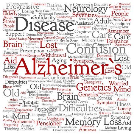 Konzeptionelle Alzheimer `s Krankheit symtoms abstrakte Wort Wolke isoliert Standard-Bild - 80720208