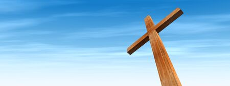 catholicism: Concept or conceptual wood cross or religion symbol shape over a blue sky with clouds background banner