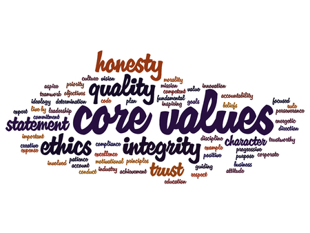 Conceptual core values integrity ethics abstract concept word cloud isolated on background metaphor to honesty, quality, trust, statement, character, important, perseverance, respect trustworthy Stock Photo