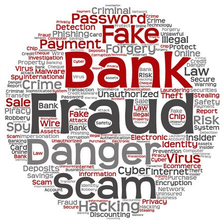 protect: Concept or conceptual bank fraud payment scam danger word cloud isolated on background Stock Photo