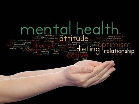 Concept of conceptuele geestelijke gezondheid of positief denken woord wolk gehouden in geïsoleerde handen Stockfoto - 80720309