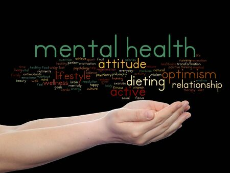 philosophic: Concept or conceptual mental health or positive thinking word cloud held in hands isolated Stock Photo