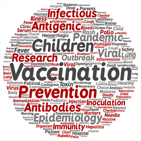 influenza: Vector concept or conceptual children vaccination or viral prevention round word cloud isolated on background