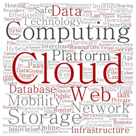 shared: Vector concept conceptual web cloud computing technology abstract wordcloud isolated Illustration