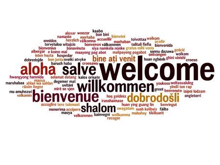 Vector concept or conceptual welcome or greeting international word cloud in different languages or isolated