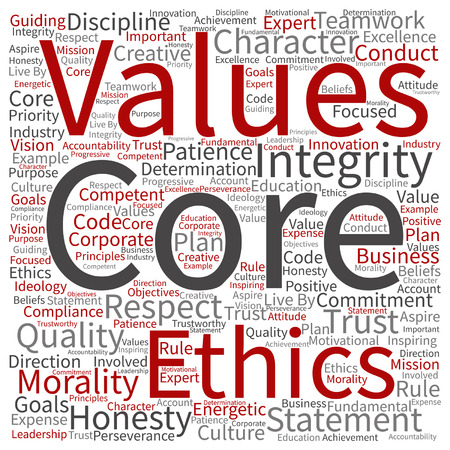 Vector conceptual core values integrity ethics concept word cloud isolated on background Stock Vector - 80724652