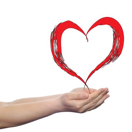 Conceptuele Rood Geschilderd Hart Liefde Vorm Symbool Gemaakt Van