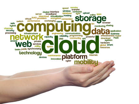 Concept conceptual web cloud computing technology wordcloud in hand isolated on background Stock Photo