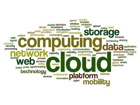 shared: Concept conceptual web cloud computing technology abstract wordcloud isolated Stock Photo