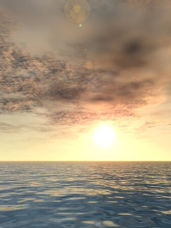 beach sunset: 3D conceptual sunset or sunrise background with the sun close to horizon and sea or ocean