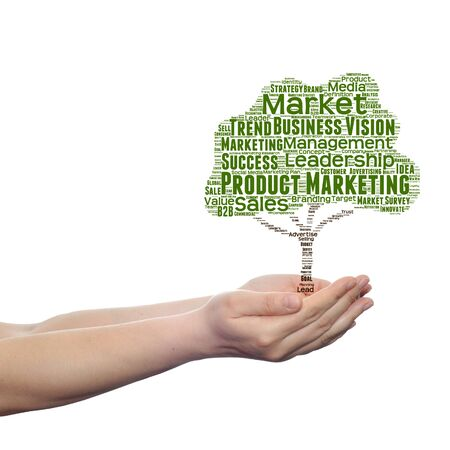 commerce: Conceptual media or business tree word cloud hand background Stock Photo