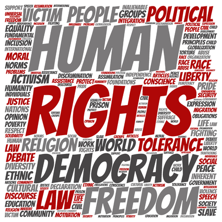 civil rights: Human rights political freedom or democracy square word cloud isolated on background