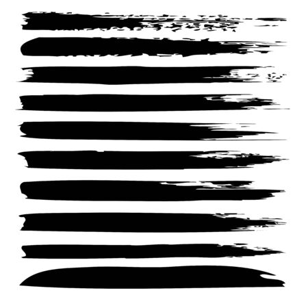 clutter: Collection or set of black paint hand made creative brush strokes isolated on white background
