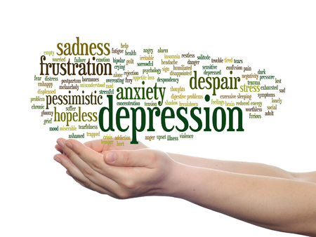 fatigue: Concept or conceptual depression or mental emotional disorder word cloud held in hands isolated Stock Photo