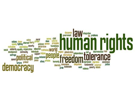 civil rights: Concept or conceptual human rights political freedom or democracy square word cloud isolated on background  metaphor to humanity world tolerance, law principles, people justice discrimination