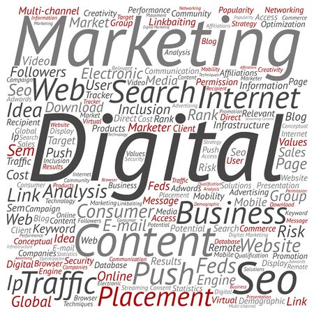 internet search: Concept or conceptual digital marketing seo or traffic  word cloud isolated on background
