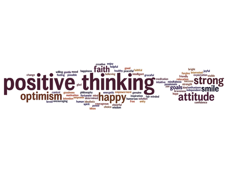 philosophic: Concept or conceptual positive thinking, happy strong attitude word cloud isolated on background