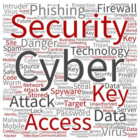 tagcloud: Vector conceptual cyber security access technology word cloud isolated on background