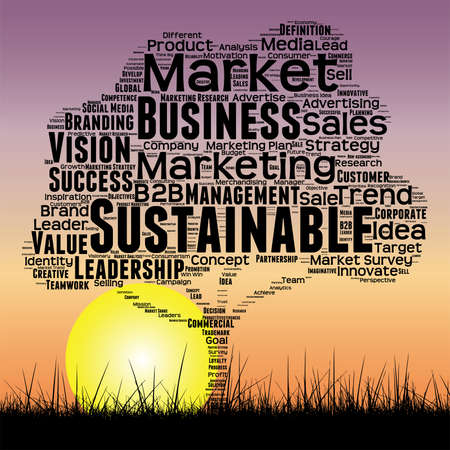 tagcloud: Vector conceptual media business tree at sunset  word cloud with sun and grass Illustration
