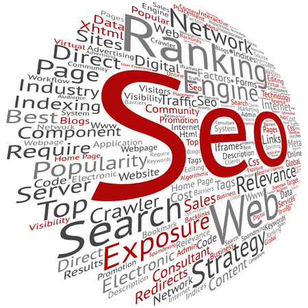 optimizing: Vector concept conceptual search engine optimization, seo abstract round word cloud isolated on background metaphor to marketing, web, internet, strategy, online, rank, result,  network, top relevance Illustration