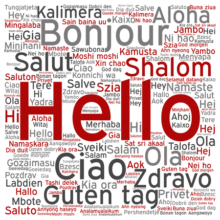 Vector conceptual abstract hello or greeting international word cloud in different languages Stok Fotoğraf - 80792409